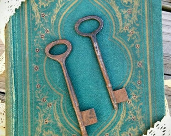 Antique - Hand Forged - Large Skeleton Keys - Collection of 2