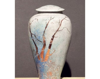 Winter Woods, Raku Urn, 11 in. Handmade USA, Copper Detail, decorative Jar