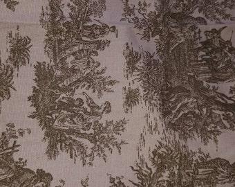 Pink & brown  toile print-2 yards