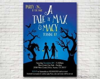 A Tale Dark & Grimm Inspired Birthday Party Invitation - Printable or Printed (w/ FREE Envelopes)