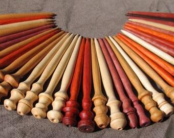 Shawl Pin Hand Turned Maple, Cherry, Padauk, Purpleheart or Ipe Wood