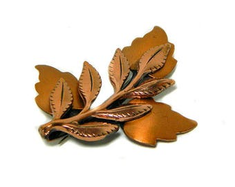 Renoir Copper Leaf Pin Brooch