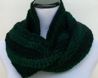 Crochet Scarf, Fringed Crochet Scarf, Green and Black Crochet Scarf, Scarf for Men, Scarf for Women, Cold Weather Scarf, Fringed Scarf