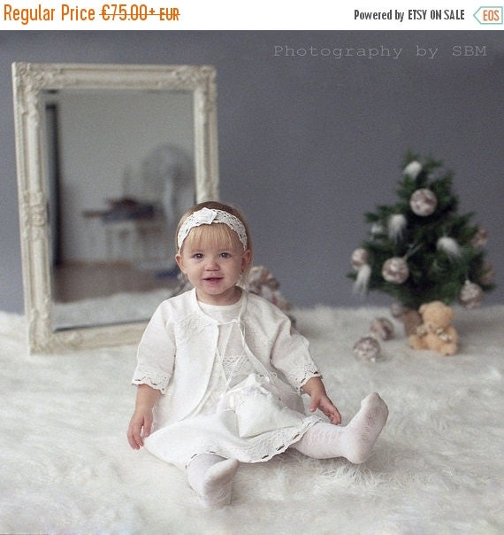 SALE Flower girl dress and jacket - Girl christening outfit - Christening 4 pieces costume for girl - Girl dress, jacket, headband, tote bag