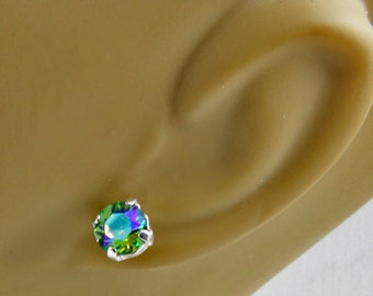 Handmade Silver And Glacier Blue 8.5 mm Stud Earrings Clear Sparkly Multicolor Stones Handset Oscarcrow