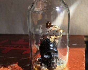 Black horn skull steampunk Display Dome - One Inch Scale