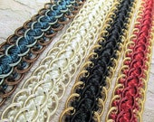 Nice 3/4 Inch Scalloped Braided Decorator Gimp Trim in Red Gold; Black Gold; Blue Teal Aqua and Brown; or Ivory