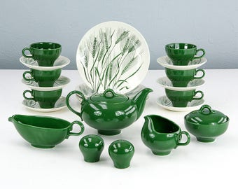 Vintage Homer Laughlin Green Wheat Americana Dinnerware Set, Teapot, Gravy Boat, Cream and Sugar, Salt and Pepper