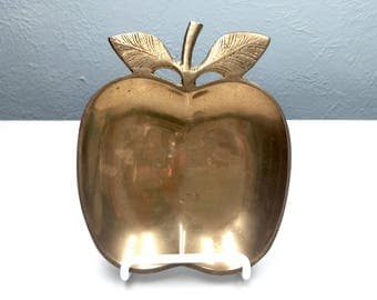Vintage Brass Apple Plate  / Vintage Home Decor / Teacher Gift / Antique Brass Apple Tray Dish