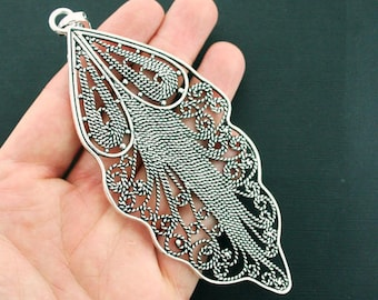 Feather Pendant Charm Antique Silver Tone Large Size Intricate Detail With Attached Loop - SC7104