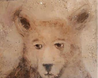 mixed media metal from my original art a bear