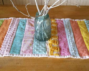 Cute Spring Easter table top quilt, table runner, placemat, cottage decor, scrappy strips with some vintage chenille and minkee