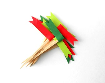 Cupcake Toppers, 12 Red and Green Christmas Flags - Holiday, Decor, Party, Dessert, Paper, Wooden Picks, Bright, Dozen, December, Embellish
