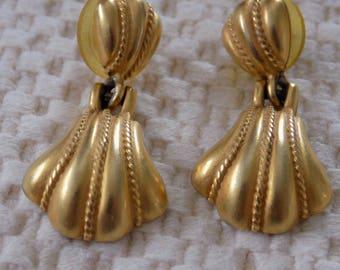 Vintage earrings, signed AK (Anne Klein) doorknocker stud earrings, runway haute couture statement earrings