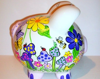 Ceramic Piggy Bank Large Hand Painted Purples, Mushrooms, Lady Bugs, Butterflies, Snails, Flowers, Personalized Bank, Child's Bank, Kid