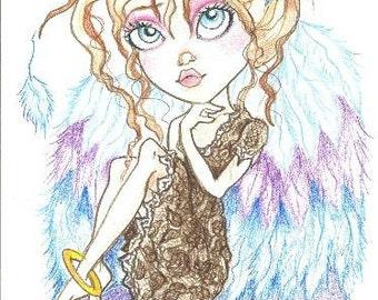 Big Eye Fantasy Sugar Angel Leslie Mehl Art Print