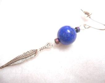 Men's Earring, Earring for Man, Single Earring, Feather Earring, Stone Earring, Rocker Earring, Man Earring, Men's Jewelry, Jewelry for Man