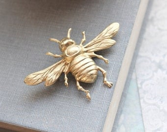 Bee Brooch Rustic Raw Gold Brass Bee Lapel Pin Nature Brooch Insect Wings Woodland Vintage Style Natural History Entomology Gift For Her