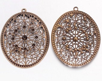 10pc lot 58x47mm Antique Bronze Filigree Jewelry Finding fretwork lattice work filagree fillagree lacy jewery supply large filagree 914x