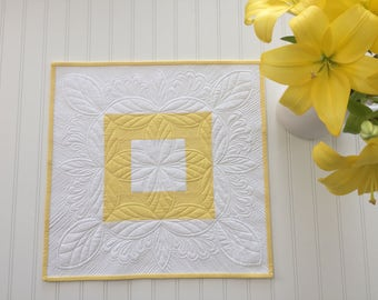Spring or Easter Quilted Table Topper Yellow White Heavily Quilted Table Runner