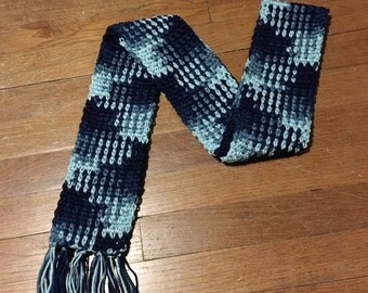 Navy Blue Crochet Scarf, Color Pooled Scarf