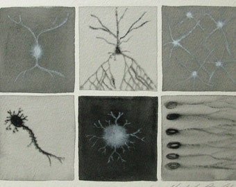 Black and White Neurons  - original watercolor of brain cells