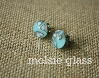 Speckled Robin glass studs - turquoise glass earrings with flecks of white, dots, earrings, studs