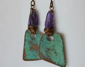 Amethyst Hammered Nugget Earrings, Verdigris Copper and Hypoallergenic Niobium Ear Wires