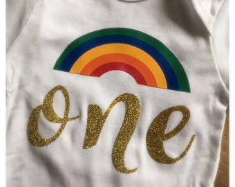 Personalized First Birthday rainbow onesie