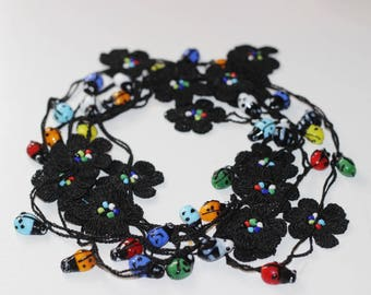 Ladybug Necklace-Black Necklace-Crochet Necklace-Turkish Oya Necklace-Black and Multicolor Lariat Necklace with Glass Beads