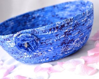 French Blue Decoration, Key Holder Bowl, Indigo Blue Bowl, Lovely Blue Cotton Fiber Bowl, Pretty Delft Blue Makeup Organizer