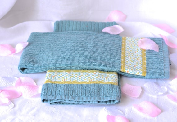 Bridal Shower Gift, Set of Two Aqua Cotton Kitchen Towels, Hand Decorated, 2 Lovely Blue Turquoise 100% Cotton Towels, Spring Blue Towels