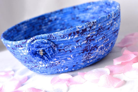 French Blue Decoration, Key Holder Bowl, Indigo Blue Bowl, Lovely Blue Cotton Fiber Bowl, Pretty Delft Blue Makeup Organizer