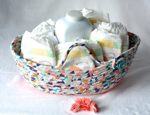 Turquoise Gift Basket, Handmade Diaper Holder, Cute Nursery Basket, Modern Baby Room Accessory, Baby Girl Room Decor, Yarn Bowl