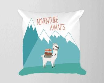 Adventure Awaits Nursery Pillow, Boy Nursery Travel Decor, Adventure Nursery Alpaca Decor, Mountain Nursery Boy Blue Decor Llama Pillow