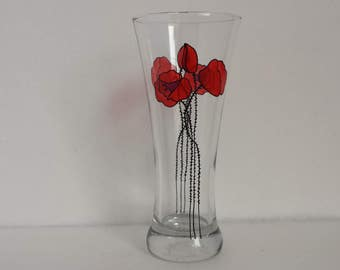 Poppies, Handpainted beer glass