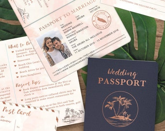 Customized PDF file: Rose Gold Watercolor Destination Wedding Passport Invitation Set by Luckyladypaper - DIY printing