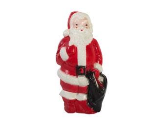 Vintage Blow Mold Santa Light // Light Up Santa // Plastic // 1960's