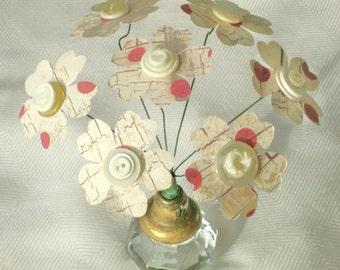 paper flower bouquet with vintage buttons in an antique door knob mini alternative gift exchange farmhouse decor