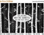 TEACHER SALE Chalkboard Birch Tree Silhouettes Clipart Clip Art, Chalk Autumn Aspen Tree Clipart Clip Art - Commercial and Personal Use