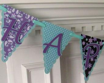 Pennant Happy Birthday Banner, Purple and Aqua Paisley Birthday Banner