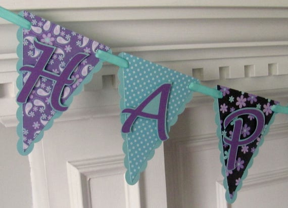 Pennant Happy Birthday Banner, Purple and Aqua Paisley Birthday Banner
