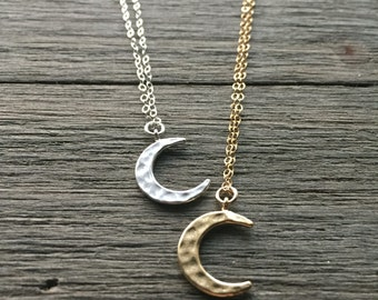 Hammered Crescent Moon Necklace | Sterling Silver OR 14k Gold Fill Chain | Dainty Necklace | Layering Necklace