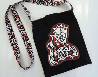 Devil's Messanger Bag upcycled t-shirt and dress pants walking dead fans