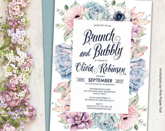 Sweet Dainty Floral Succulent Boho Chic Brunch and Bubbly Invitation, Succulent Protea Anemone Rustic Printable Invitation