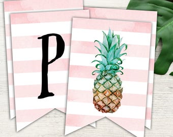 Pineapple Party Happy Birthday Banner, Pink and White and Pineapple Printable Banner, Instant Download Print Your Own