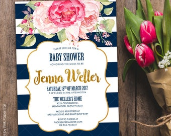 Navy Blue and Blush Pink Floral Invitation Baby Shower Printable Invitation, Navy Blue and White Stripes Pink Floral Baby Shower Invitation