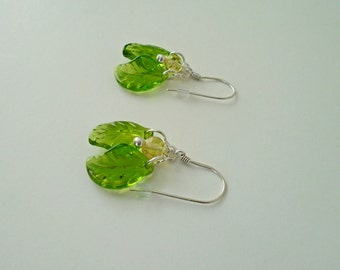 Dangle Earrings Green Leaf Dangle Women's Earrings Eco Leaf Earrings