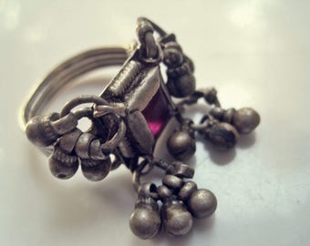 Rajasthani Ring, Vintage Indian Tribal Silver Band With Pink Glass and Dangles