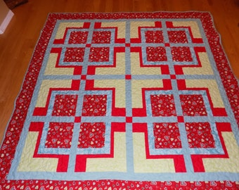 "Valentine Lap Quilt  Red and Turquoise 77"" square"